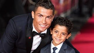 Cristiano Ronaldo Brings Adorable, Look-Alike Son Cristiano Jr. to Red Carpet Premiere