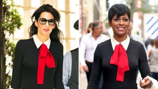 Amal Clooney, Tamron Hall Wore the Same Bow-Topped Dress on the Same Day