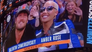 Amber Rose and Val Chmerkovskiy Get Caught on Kiss Cam at Knicks Game: Watch Their Reaction