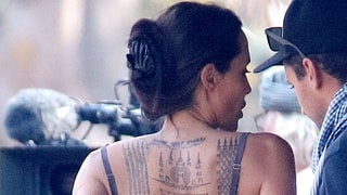 Angelina Jolie Spotted With Three New Back Tattoos on Movie Set: See the Photos!