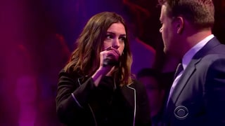 Anne Hathaway Mocks James Corden in Hilarious Rap Battle