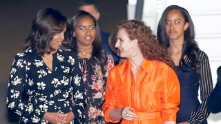 Michelle, Malia and Sasha Obama Coordinate in Prints in Morocco
