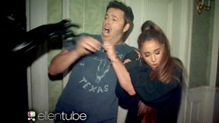 Ariana Grande Falls to the Floor in Fear While Visiting 'American Horror Story' Haunted House on 'Ellen'