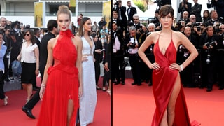 Rosie Huntington-Whiteley and Bella Hadid Stun in Sultry Red Dresses at Cannes: Who Wore It Best?