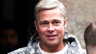 Brad Pitt Smolders With Silver Hair, Runs in Short Shorts on the Set of His New Film