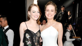 Emma Stone, Best Actress Oscar Hopeful, Cozied Up to Last Year's Winner, Brie Larson