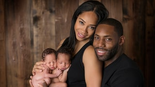 Antonio Cromartie and Wife Terricka's Infant Twins Sleep in Football Helmets in Adorable First Baby Photos