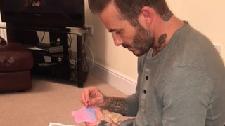 Doting Dad David Beckham Sews a Dress for Daughter Harper's Doll: Photo