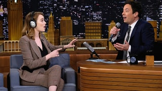 Emma Stone Totally Fails Playing the Singing Whisper Challenge With Jimmy Fallon: Video