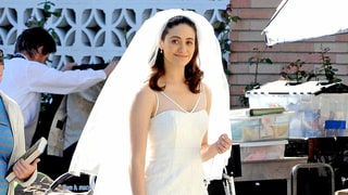See Engaged Emmy Rossum in a Gorgeous Wedding Dress