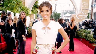 Golden Globes 2016: Eva Longoria Works Her Curves in Bridal White Dress on the Red Carpet