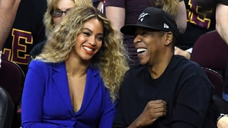 Beyonce Stuns in a Plunging Blue Suit Courtside With Jay Z at NBA Finals 2016