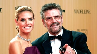 Heidi Klum Brings Her Dad as Red Carpet Date, Stuns in Plum Ball Gown