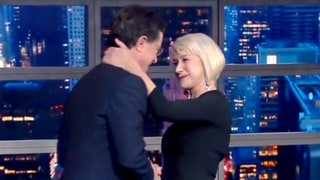 Helen Mirren Stuns Stephen Colbert With a Tender Kiss: 'I've Been Dreaming of Doing That for 15 Years'