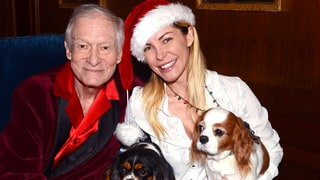 Hugh and Crystal Hefner Cuddle Up to Their Dogs on Sweet 2016 Holiday Card