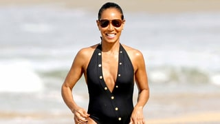 Jada Pinkett Smith Works Her Incredible Body on the Beach With Jaden and Willow