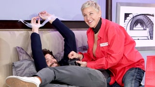 Jamie Dornan Spoofs 'Fifty Shades Darker' With Ellen DeGeneres — in Bed!