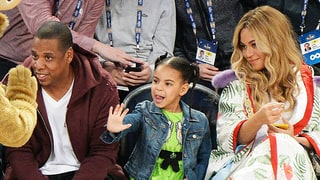 Blue Ivy Carter Snacks on Cotton Candy Courtside With Pregnant Beyonce, Jay Z at NBA All-Star Game: Photos
