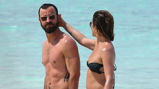 Bikini-Clad Jennifer Aniston, Justin Theroux Take Affectionate Stroll on the Beach