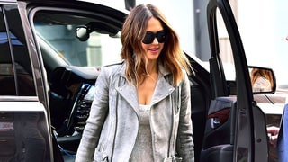 Jessica Alba's Lace Dress, Moto Jacket and Metallic Heels Are the Perfect Winter-to-Spring Style Inspiration