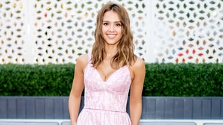 Get Jessica Alba's Pink Dress, Gold Accessories for Less