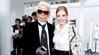 Karl Lagerfeld and Jessica Chastain at Chanel