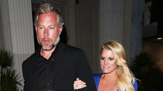 Jessica Simpson Wears Plunging Blue Dress on Date Night With Eric Johnson
