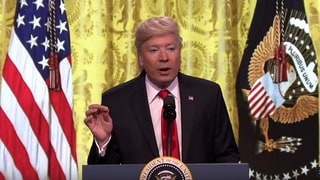 Jimmy Fallon Spoofs Donald Trump's Press Conference in 'Tonight Show' Sketch