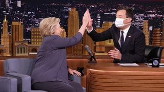 Jimmy Fallon Wears Surgical Mask During Hillary Clinton Interview, Jokes About Pneumonia