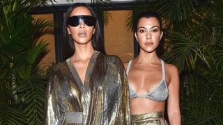 Kourtney, Kim Kardashian Twin in Skin-Baring Metallics at Balmain Aftershow