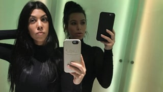 Kim and Kourtney Kardashian Show Off Svelte Figures in Selfie at Kanye West's Listening Party