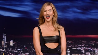 Karlie Kloss Jumps on Trampoline in Ab-Baring Cutout Dress to Teach Jimmy Fallon How to Pose