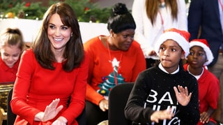 Kate Middleton Looks Festive in Red in a Recycled Alexander McQueen Dress