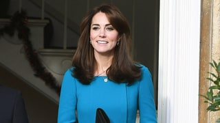 Kate Middleton Pops in a Recycled Teal Dress Under a Houndstooth Coat