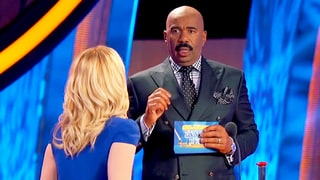 Watch Steve Harvey's Reaction to Kellie Pickler Almost Falling on 'Celebrity Family Feud'