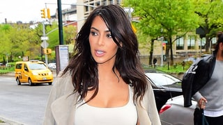 Kim Kardashian's Latest Street Style Includes High-Waisted Denim Skirt and Matching Heels