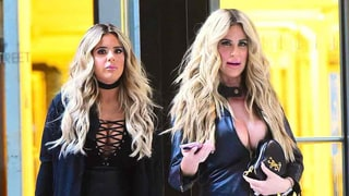 Kim Zolciak and Daughter Brielle Twin in Matching Leather Outfits