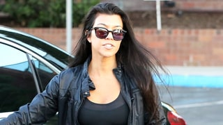 Kourtney Kardashian, Back from Paris Fashion Week, Emerges in Calabasas in Sporty Separates