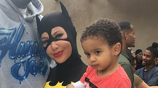 Amber Rose and Wiz Khalifa Dress as Batgirl and Batman at Son Sebastian's Birthday Party