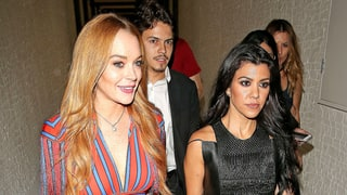 Kourtney Kardashian and Lindsay Lohan Are 'Twins' During Night Out in London, Wear the Same Dress in the Same Day