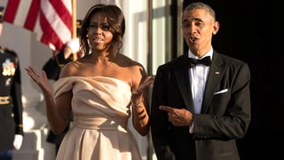 Michelle Obama Bares Her Shoulders in a Trendy, Blush-Colored Gown