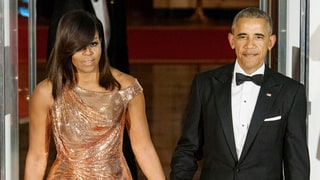Michelle Obama Wore Gold for Her First and Last White House State Dinners
