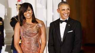 Michelle Obama Turns Heads, Glows in Stunning Rose Gold Versace Gown at Final State Dinner