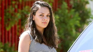 Pregnant Mila Kunis Sports Clingy Dress on Outing With Ashton Kutcher: Photos