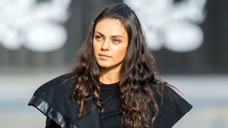 Mila Kunis Balances in Sky-High Platform Heels