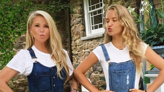 Christie Brinkley and Mini-Me Daughter Sailor Twin in Denim Overalls