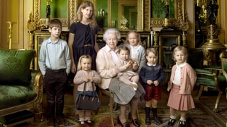 Queen Elizabeth II Poses With Prince George, Princess Charlotte for 90th Birthday Portrait