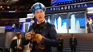 Watch Colbert Exasperate Security, Staff in 'Hunger Games' DNC Skit