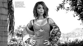 Sarah Hyland Models a Skimpy Swimsuit With Knee-High Gladiator Boots for Remix Magazine