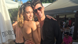 Robin Thicke's Girlfriend April Love Geary Rocks a Teeny Bikini, Is All Smiles on Giant Inflatable Swan in St. Bart's: Photos
